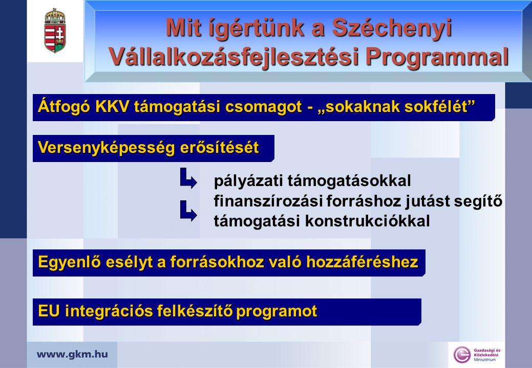 """Mit ígértünk a Széchenyi Vállalkozásfejlesztési Programmal Átfogó KKV támogatási csomagot - """"sokaknak sokfélét Versenyképesség erősítését pályázati támogatásokkal finanszírozási forráshoz jutást segítő támogatási konstrukciókkal Egyenlő esélyt a forrásokhoz való hozzáféréshez EU integrációs felkészítő programot"""