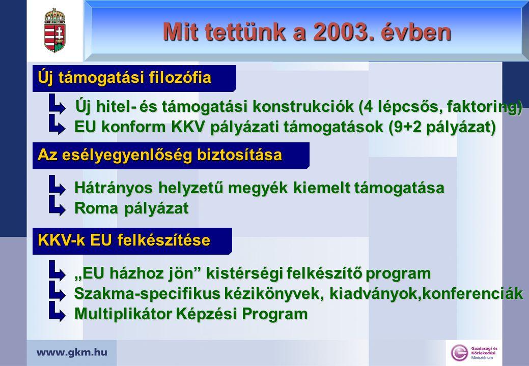 Mit tettünk a 2003. évben Új támogatási filozófia Új hitel- és támogatási konstrukciók (4 lépcsős, faktoring) EU konform KKV pályázati támogatások (9+