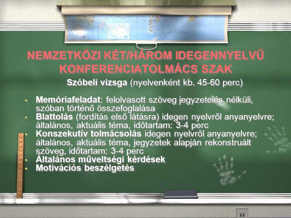 NEMZETKÖZI KÉT/HÁROM IDEGENNYELVŰ KONFERENCIATOLMÁCS SZAK Szóbeli vizsga (nyelvenként kb.