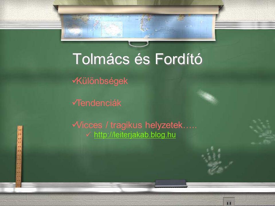 Tolmács és Fordító Különbségek Tendenciák Vicces / tragikus helyzetek….. http://leiterjakab.blog.hu
