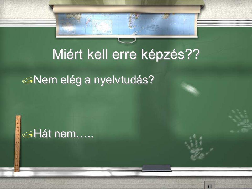 Miért kell erre képzés . / Nem elég a nyelvtudás.