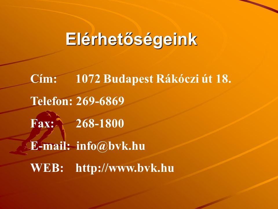 Elérhetőségeink Cím: 1072 Budapest Rákóczi út 18. Telefon: 269-6869 Fax: 268-1800 E-mail: info@bvk.hu WEB: http://www.bvk.hu