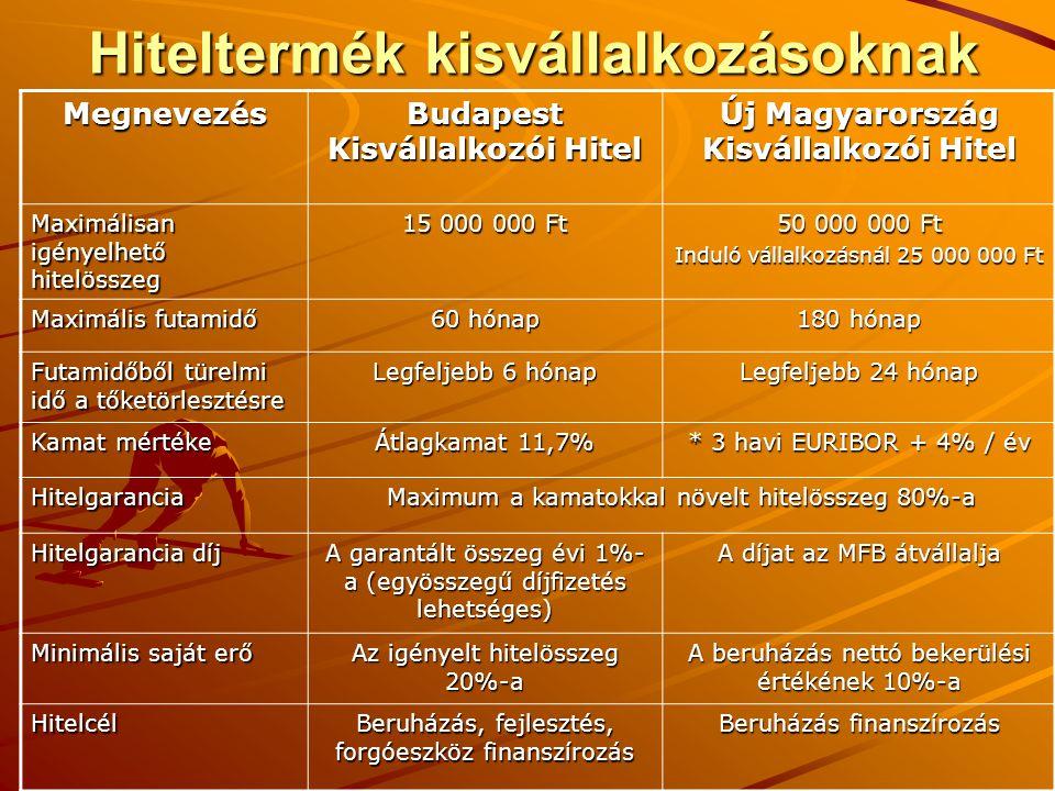 Hiteltermék kisvállalkozásoknak Megnevezés Budapest Kisvállalkozói Hitel Új Magyarország Kisvállalkozói Hitel Maximálisan igényelhető hitelösszeg 15 0