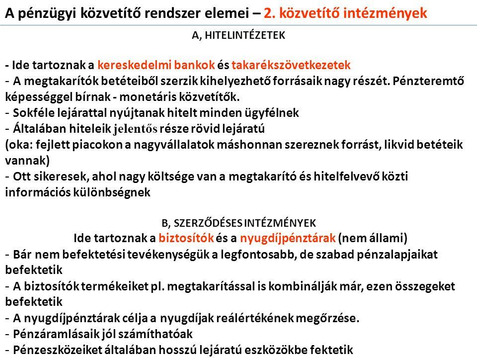 C, BEFEKTETÉSI INTÉZMÉNYEK - pl.
