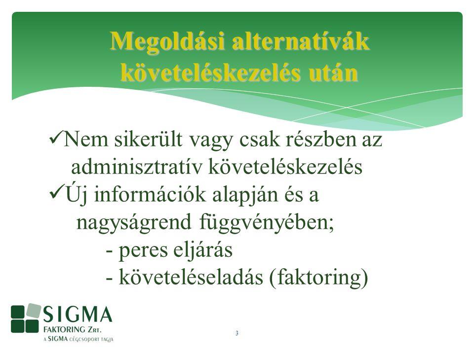 3 Megoldási alternatívák követeléskezelés után Nem sikerült vagy csak részben az adminisztratív követeléskezelés Új információk alapján és a nagyságrend függvényében; - peres eljárás - követeléseladás (faktoring)