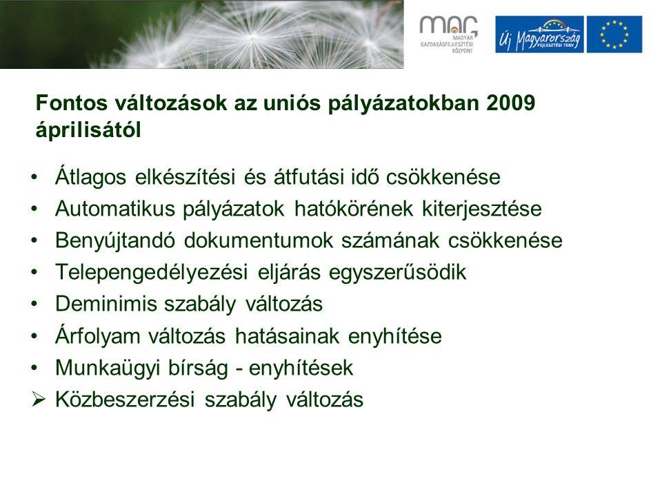 Fontos változások az uniós pályázatokban 2009 áprilisától Átlagos elkészítési és átfutási idő csökkenése Automatikus pályázatok hatókörének kiterjesztése Benyújtandó dokumentumok számának csökkenése Telepengedélyezési eljárás egyszerűsödik Deminimis szabály változás Árfolyam változás hatásainak enyhítése Munkaügyi bírság - enyhítések  Közbeszerzési szabály változás