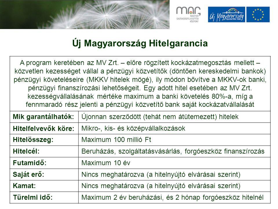 Új Magyarország Hitelgarancia A program keretében az MV Zrt.