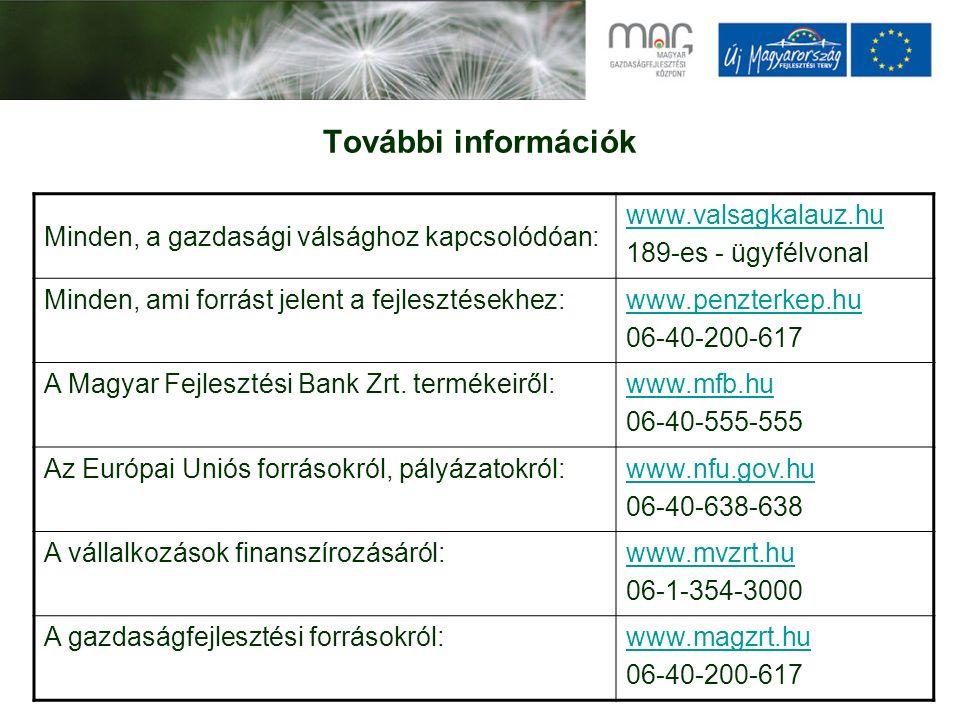 További információk Minden, a gazdasági válsághoz kapcsolódóan: www.valsagkalauz.hu 189-es - ügyfélvonal Minden, ami forrást jelent a fejlesztésekhez:www.penzterkep.hu 06-40-200-617 A Magyar Fejlesztési Bank Zrt.