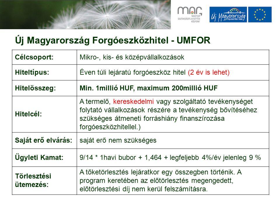 Új Magyarország Forgóeszközhitel - UMFOR Célcsoport:Mikro-, kis- és középvállalkozások Hiteltípus:Éven túli lejáratú forgóeszköz hitel (2 év is lehet) Hitelösszeg:Min.