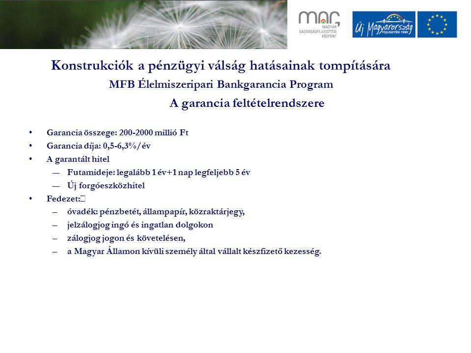 Konstrukciók a pénzügyi válság hatásainak tompítására MFB Élelmiszeripari Bankgarancia Program A garancia feltételrendszere Garancia összege: 200-2000 millió Ft Garancia díja: 0,5-6,3%/év A garantált hitel ―Futamideje: legalább 1 év+1 nap legfeljebb 5 év ―Új forgóeszközhitel Fedezet:  –óvadék: pénzbetét, állampapír, közraktárjegy, –jelzálogjog ingó és ingatlan dolgokon –zálogjog jogon és követelésen, –a Magyar Államon kívüli személy által vállalt készfizető kezesség.