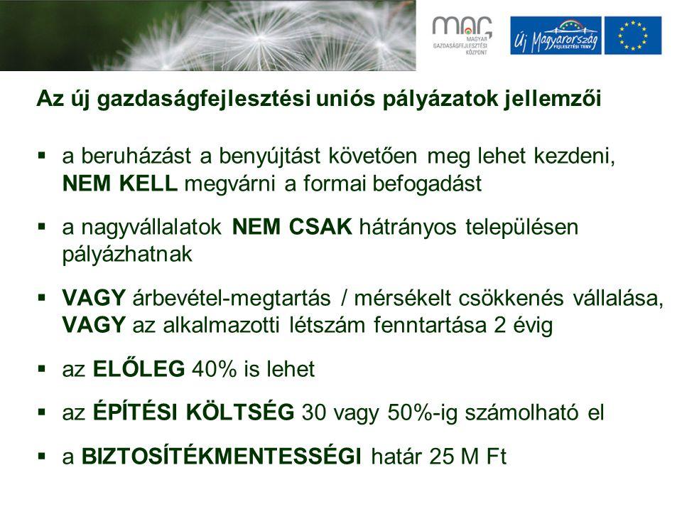 Pályázat neveBeadásTámogatás Mikro-, kis- és középvállalkozások technológiai fejlesztése GOP-2009/2-2.1.1/A* 2009.11.30- 2010.12.31 1-25 MFt KMOP-2009/2-1.2.1/A1-20 MFt Vállalati folyamatmenedzsment és elektronikus kereskedelem támogatása (GOP-2009-2.2.1)* 2009.08.31- 2009.12.31.