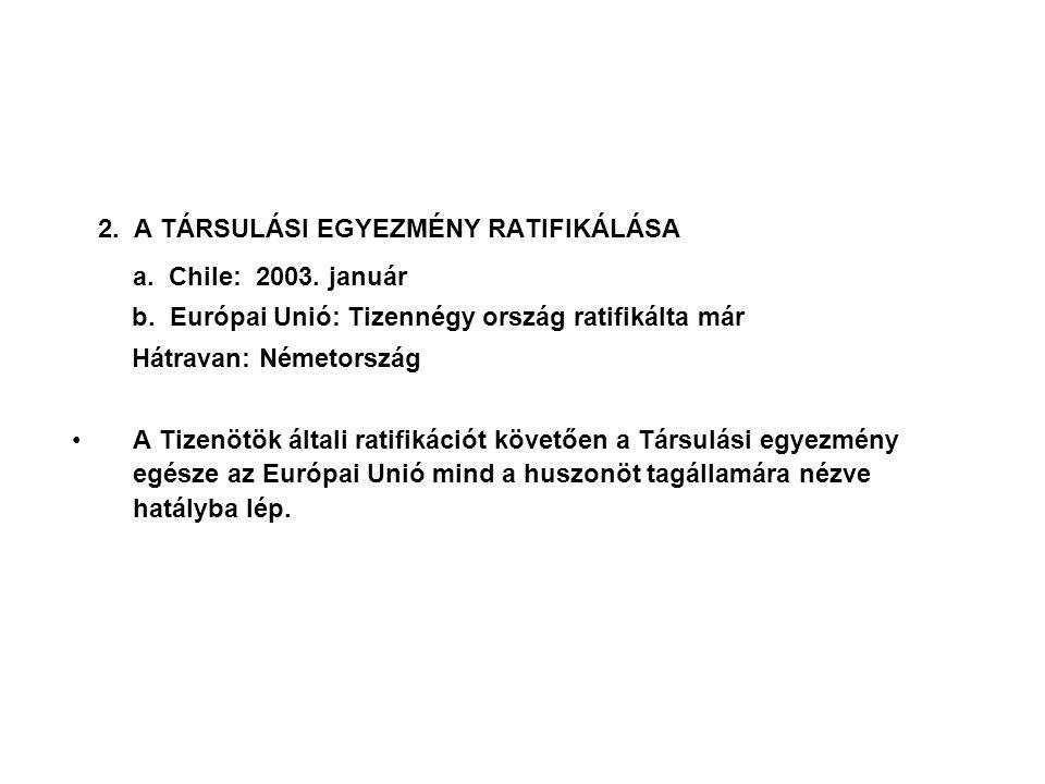 A Tizek csatlakozása a Társulási Egyezményhez azt jelenti Chile számára, hogy az európai térség egyesül, és a következőkkel bővül: - 75 millió lakos (az EU eléri a 450 milliós lélekszámot); - 735 ezer négyzetkilométer terület; - 400 milliárd dollár bruttó össztermék; - 150 milliárd dollár export; - 175 milliárd dollár import; - 27 millió dollár értékű export Chiléből a Tizek országaiba - 62 millió dollár értékű import Chilébe a tíz új tagállamból