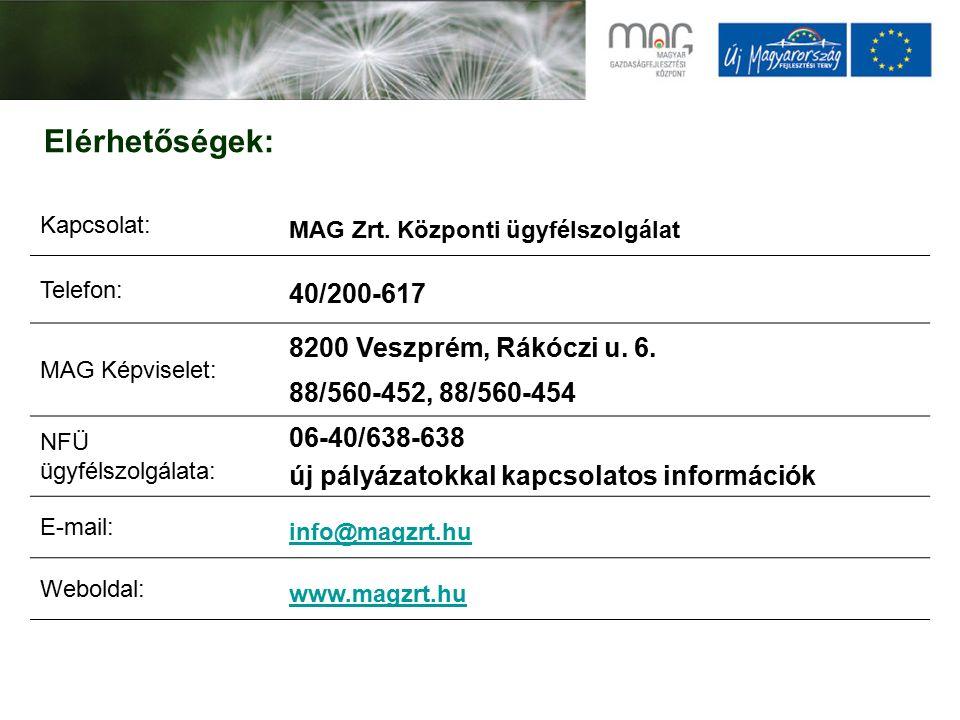 Elérhetőségek: Kapcsolat: MAG Zrt. Központi ügyfélszolgálat Telefon: 40/200-617 MAG Képviselet: 8200 Veszprém, Rákóczi u. 6. 88/560-452, 88/560-454 NF