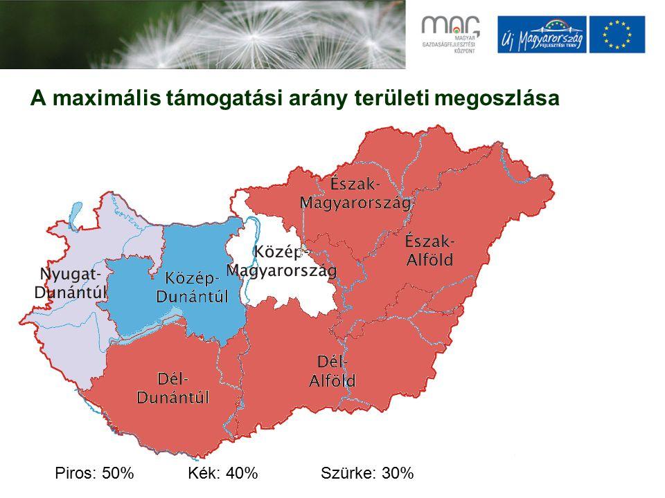A maximális támogatási arány területi megoszlása Piros: 50%Kék: 40%Szürke: 30%
