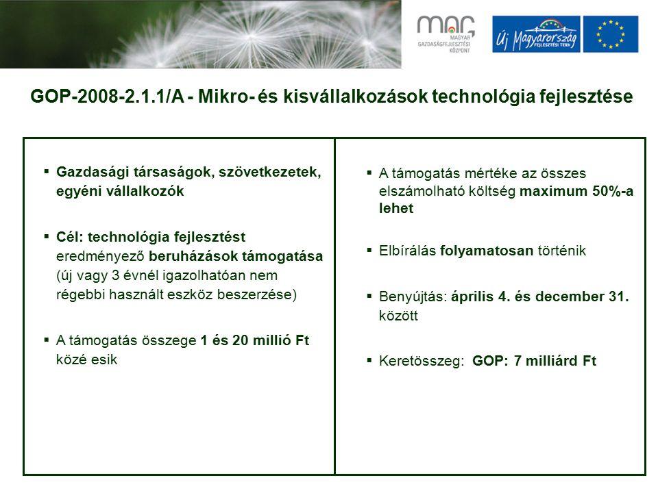 GOP-2008-2.1.1/A - Mikro- és kisvállalkozások technológia fejlesztése  Gazdasági társaságok, szövetkezetek, egyéni vállalkozók  Cél: technológia fejlesztést eredményező beruházások támogatása (új vagy 3 évnél igazolhatóan nem régebbi használt eszköz beszerzése)  A támogatás összege 1 és 20 millió Ft közé esik  A támogatás mértéke az összes elszámolható költség maximum 50%-a lehet  Elbírálás folyamatosan történik  Benyújtás: április 4.