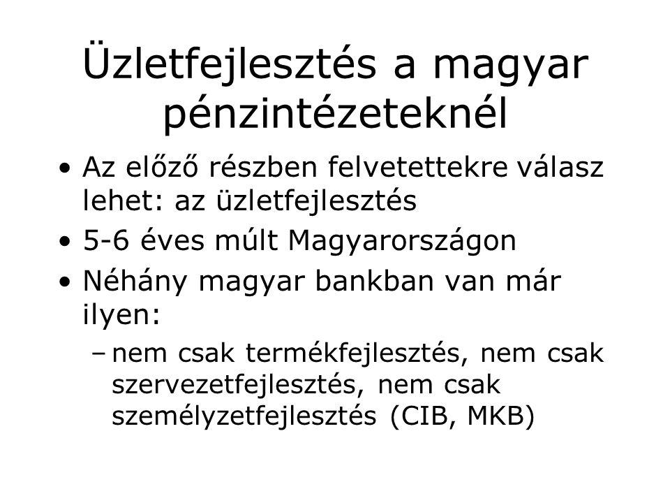 Üzletfejlesztés a magyar pénzintézeteknél Az előző részben felvetettekre válasz lehet: az üzletfejlesztés 5-6 éves múlt Magyarországon Néhány magyar bankban van már ilyen: –nem csak termékfejlesztés, nem csak szervezetfejlesztés, nem csak személyzetfejlesztés (CIB, MKB)