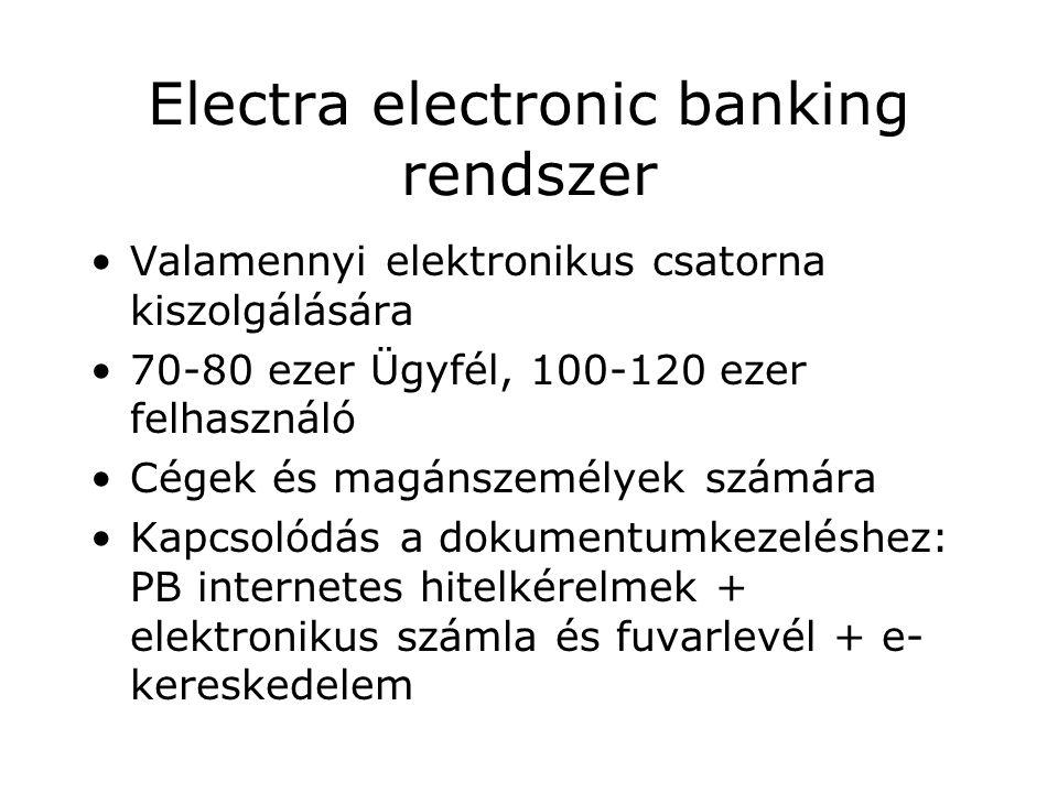 Electra electronic banking rendszer Valamennyi elektronikus csatorna kiszolgálására 70-80 ezer Ügyfél, 100-120 ezer felhasználó Cégek és magánszemélyek számára Kapcsolódás a dokumentumkezeléshez: PB internetes hitelkérelmek + elektronikus számla és fuvarlevél + e- kereskedelem