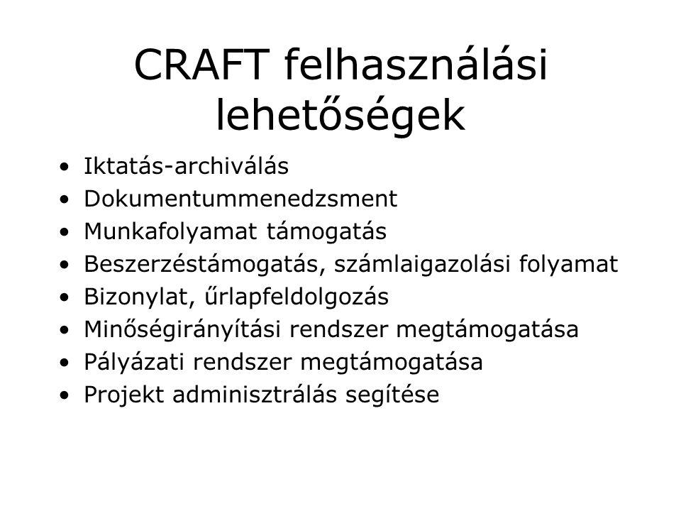 CRAFT felhasználási lehetőségek Iktatás-archiválás Dokumentummenedzsment Munkafolyamat támogatás Beszerzéstámogatás, számlaigazolási folyamat Bizonylat, űrlapfeldolgozás Minőségirányítási rendszer megtámogatása Pályázati rendszer megtámogatása Projekt adminisztrálás segítése