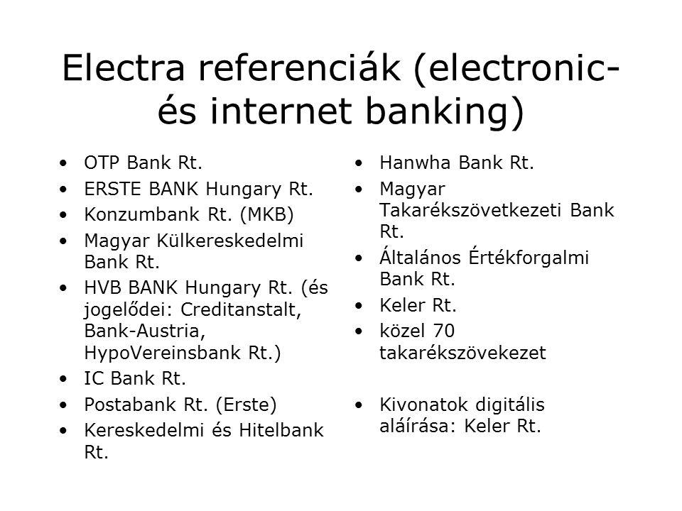Electra referenciák (electronic- és internet banking) OTP Bank Rt.