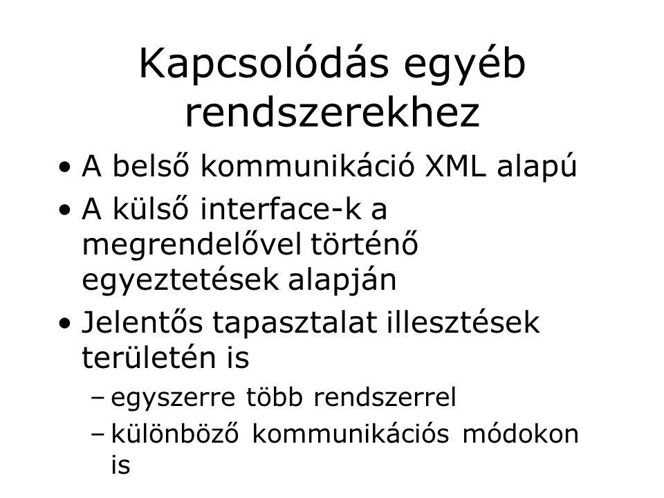 Kapcsolódás egyéb rendszerekhez A belső kommunikáció XML alapú A külső interface-k a megrendelővel történő egyeztetések alapján Jelentős tapasztalat illesztések területén is –egyszerre több rendszerrel –különböző kommunikációs módokon is