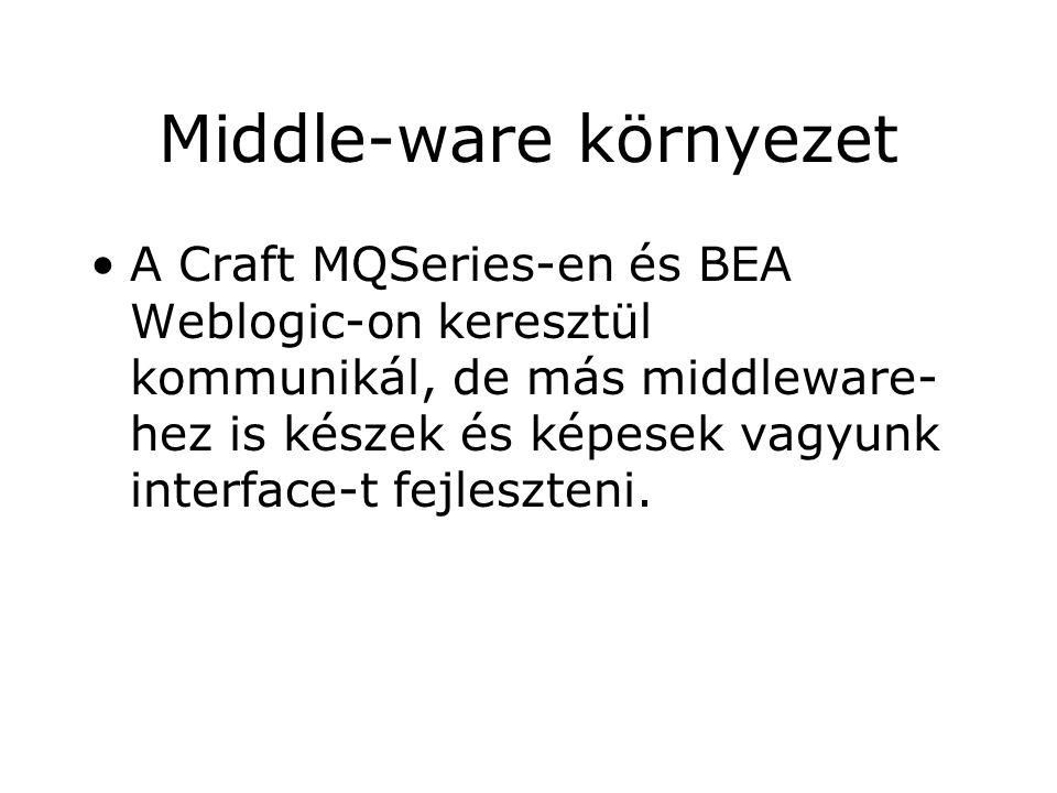Middle-ware környezet A Craft MQSeries-en és BEA Weblogic-on keresztül kommunikál, de más middleware- hez is készek és képesek vagyunk interface-t fejleszteni.