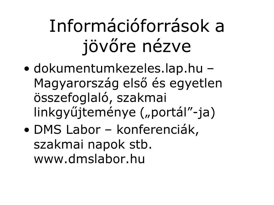 """Információforrások a jövőre nézve dokumentumkezeles.lap.hu – Magyarország első és egyetlen összefoglaló, szakmai linkgyűjteménye (""""portál -ja) DMS Labor – konferenciák, szakmai napok stb."""