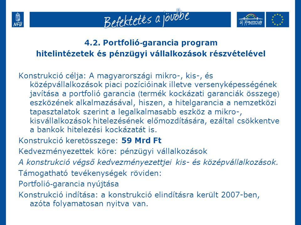 4.2. Portfolió - garancia program hitelintézetek és pénzügyi vállalkozások részvételével Konstrukció célja: A magyarországi mikro-, kis-, és középváll