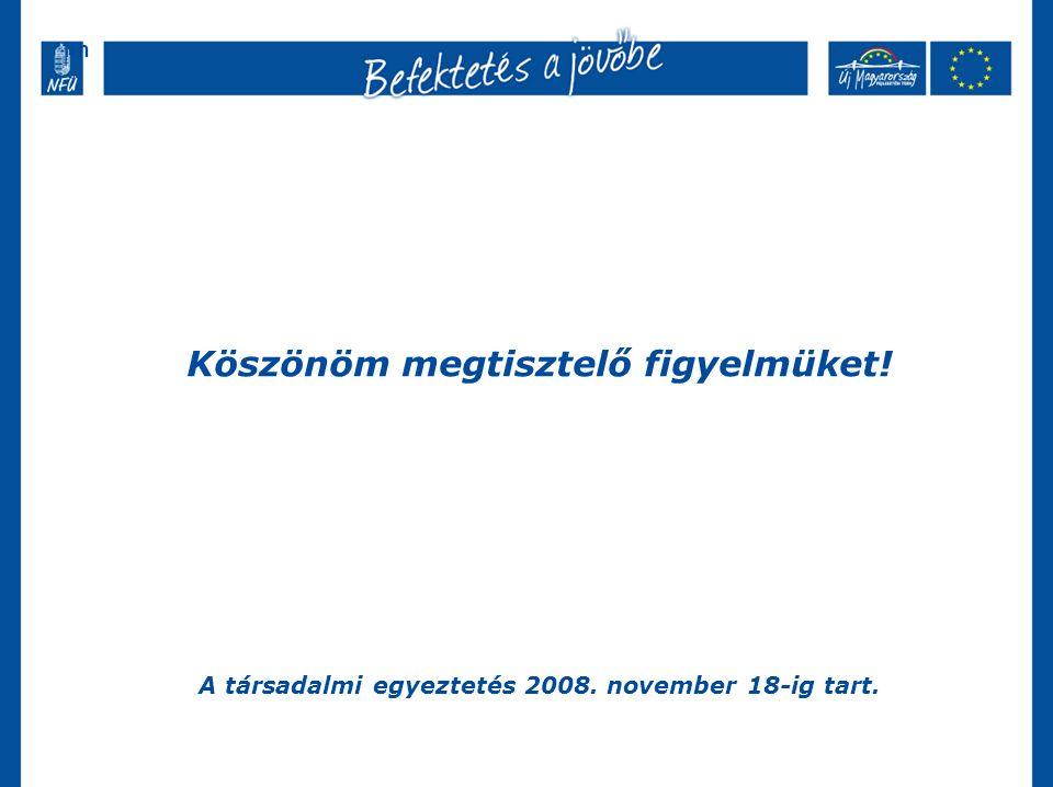 Köszönöm megtisztelő figyelmüket! A társadalmi egyeztetés 2008. november 18-ig tart. hh
