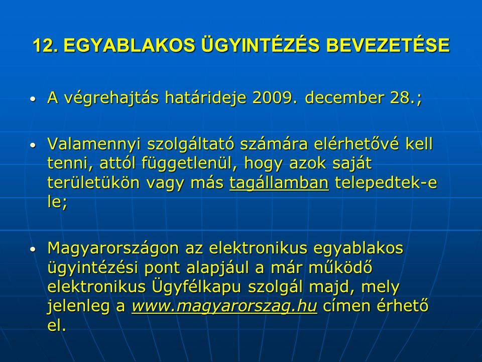 12. EGYABLAKOS ÜGYINTÉZÉS BEVEZETÉSE A végrehajtás határideje 2009.