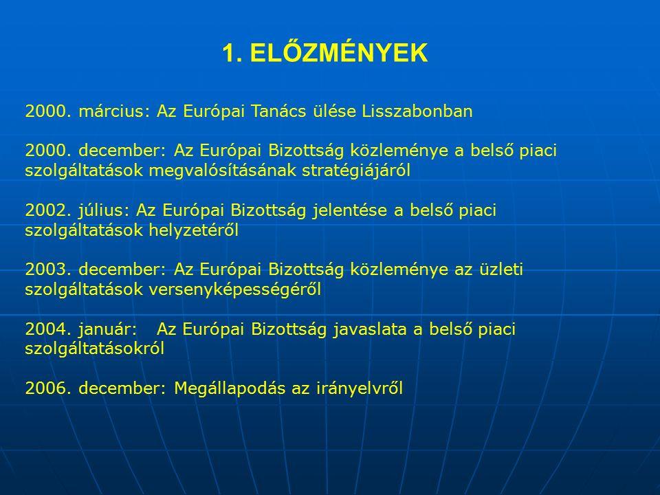 1. ELŐZMÉNYEK 2000. március: Az Európai Tanács ülése Lisszabonban 2000.
