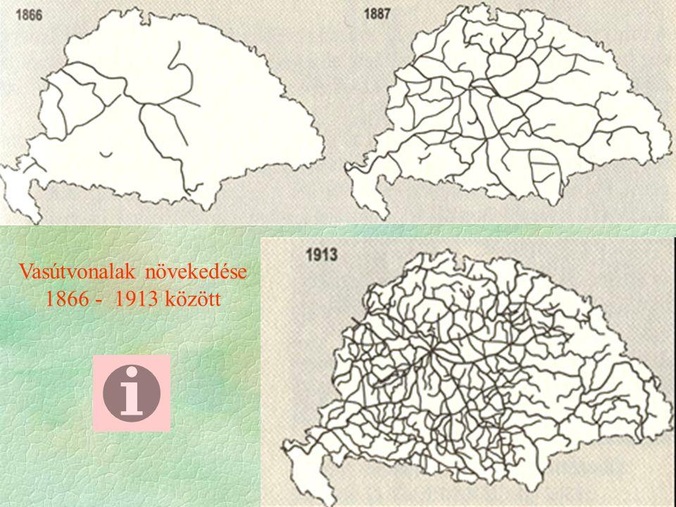 Vasútvonalak növekedése 1866 - 1913 között