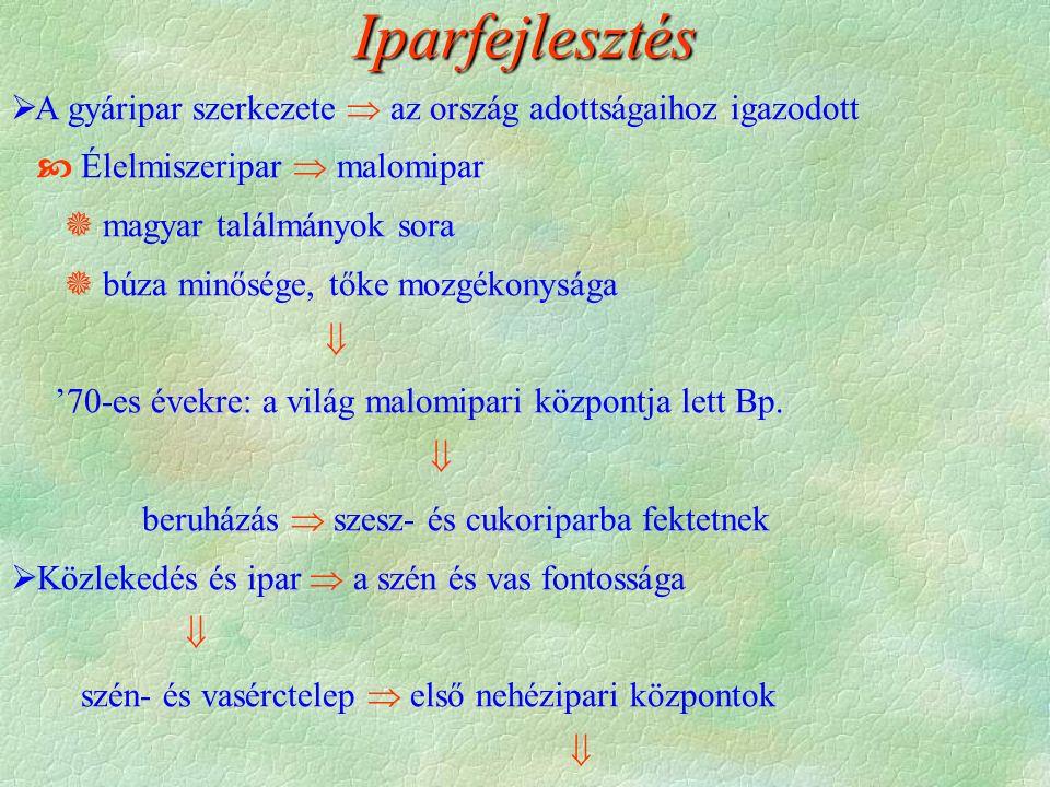 Iparfejlesztés  A gyáripar szerkezete  az ország adottságaihoz igazodott  Élelmiszeripar  malomipar  magyar találmányok sora  búza minősége, tőke mozgékonysága  '70-es évekre: a világ malomipari központja lett Bp.