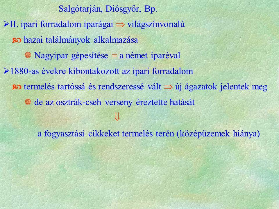 Salgótarján, Diósgyőr, Bp.  II. ipari forradalom iparágai  világszínvonalú  hazai találmányok alkalmazása  Nagyipar gépesítése = a német iparéval
