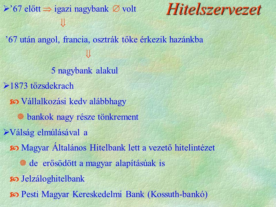 Hitelszervezet  '67 előtt  igazi nagybank  volt  '67 után angol, francia, osztrák tőke érkezik hazánkba  5 nagybank alakul  1873 tőzsdekrach  V