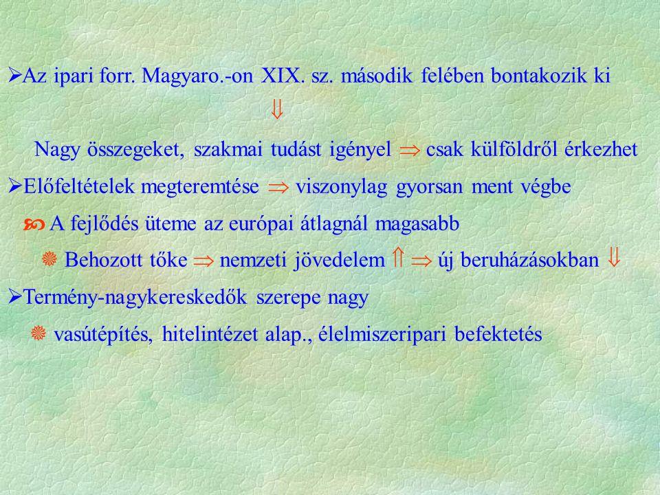  Az ipari forr. Magyaro.-on XIX. sz. második felében bontakozik ki  Nagy összegeket, szakmai tudást igényel  csak külföldről érkezhet  Előfeltétel