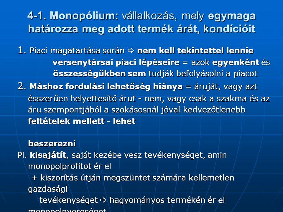 4-1. Monopólium: vállalkozás, mely egymaga határozza meg adott termék árát, kondícióit 1.