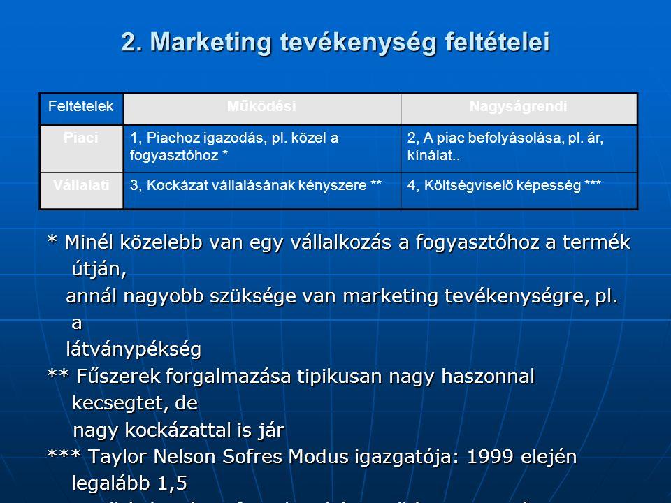 2. Marketing tevékenység feltételei * Minél közelebb van egy vállalkozás a fogyasztóhoz a termék útján, annál nagyobb szüksége van marketing tevékenys
