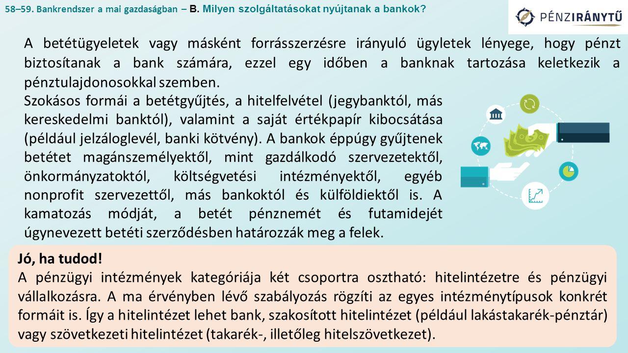A betétügyeletek vagy másként forrásszerzésre irányuló ügyletek lényege, hogy pénzt biztosítanak a bank számára, ezzel egy időben a banknak tartozása