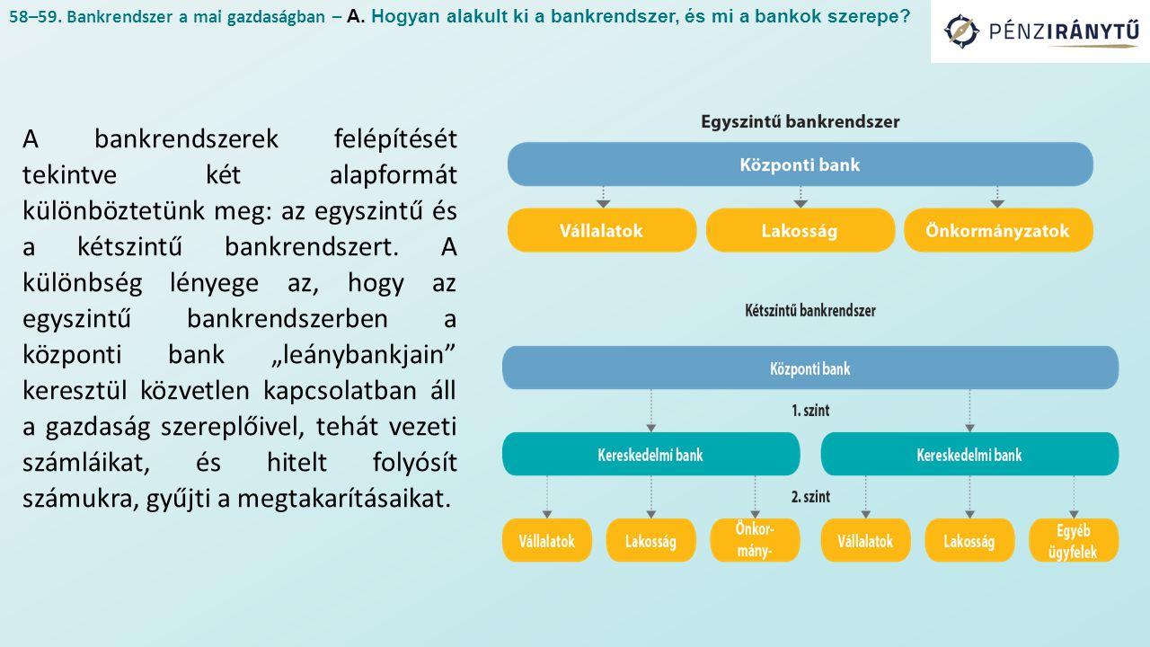 A bankrendszerek felépítését tekintve két alapformát különböztetünk meg: az egyszintű és a kétszintű bankrendszert. A különbség lényege az, hogy az eg