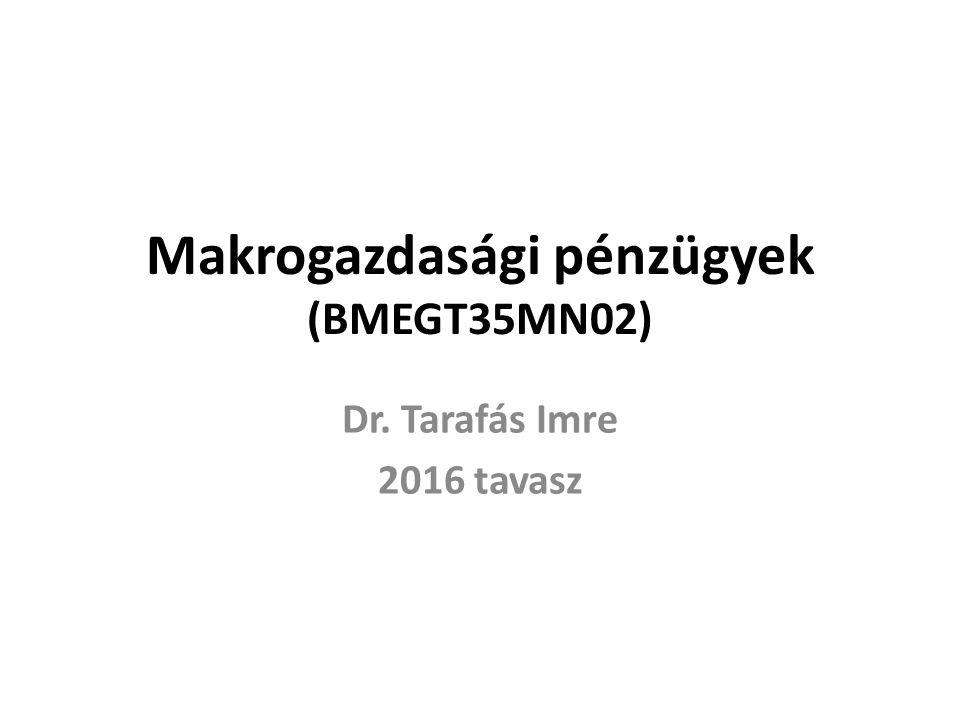 Makrogazdasági pénzügyek (BMEGT35MN02) Dr. Tarafás Imre 2016 tavasz