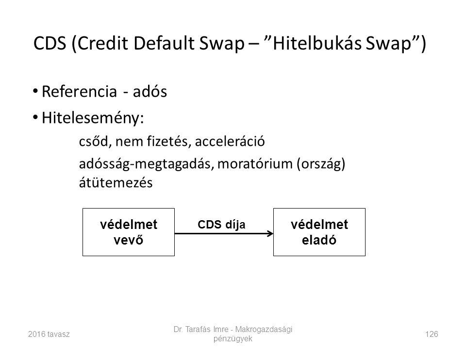 """Dr. Tarafás Imre - Makrogazdasági pénzügyek 126 CDS (Credit Default Swap – """"Hitelbukás Swap"""") Referencia - adós Hitelesemény: csőd, nem fizetés, accel"""