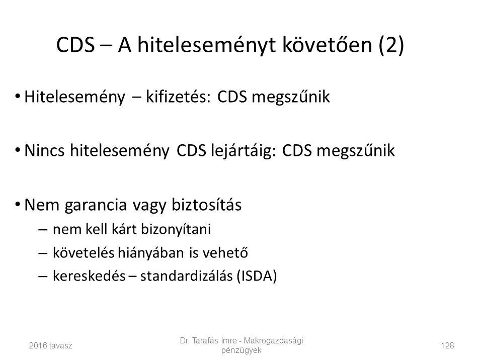 Hitelesemény – kifizetés: CDS megszűnik Nincs hitelesemény CDS lejártáig: CDS megszűnik Nem garancia vagy biztosítás – nem kell kárt bizonyítani – követelés hiányában is vehető – kereskedés – standardizálás (ISDA) Dr.