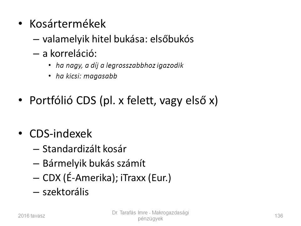 Kosártermékek – valamelyik hitel bukása: elsőbukós – a korreláció: ha nagy, a díj a legrosszabbhoz igazodik ha kicsi: magasabb Portfólió CDS (pl.