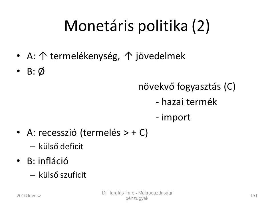 Monetáris politika (2) A: ↑ termelékenység, ↑ jövedelmek B: Ø növekvő fogyasztás (C) - hazai termék - import A: recesszió (termelés > + C) – külső deficit B: infláció – külső szuficit Dr.