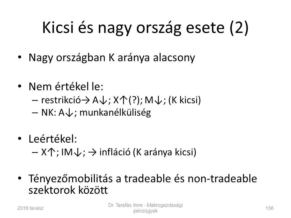 Kicsi és nagy ország esete (2) Nagy országban K aránya alacsony Nem értékel le: – restrikció→ A↓; X↑(?); M↓; (K kicsi) – NK: A↓; munkanélküliség Leértékel: – X↑; IM↓; → infláció (K aránya kicsi) Tényezőmobilitás a tradeable és non-tradeable szektorok között Dr.