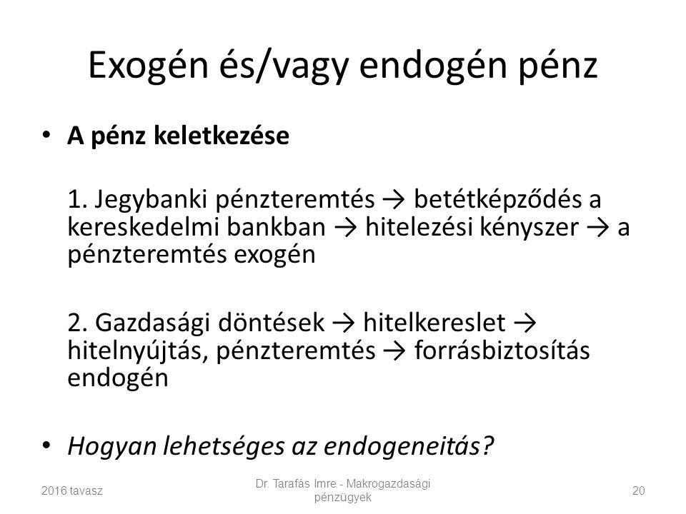 Exogén és/vagy endogén pénz A pénz keletkezése 1.