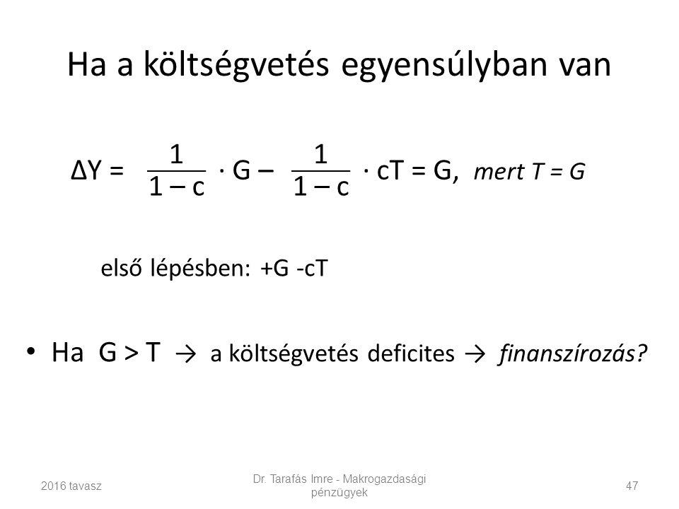 Ha a költségvetés egyensúlyban van Ha G > T → a költségvetés deficites → finanszírozás.