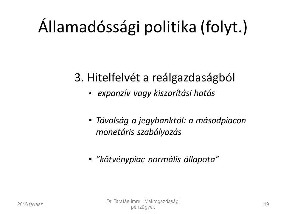 Államadóssági politika (folyt.) 3.