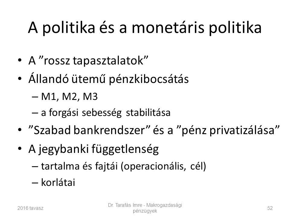 A politika és a monetáris politika A rossz tapasztalatok Állandó ütemű pénzkibocsátás – M1, M2, M3 – a forgási sebesség stabilitása Szabad bankrendszer és a pénz privatizálása A jegybanki függetlenség – tartalma és fajtái (operacionális, cél) – korlátai Dr.