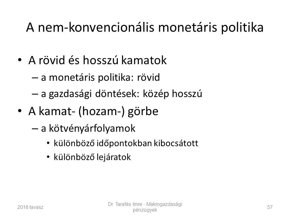 A nem-konvencionális monetáris politika A rövid és hosszú kamatok – a monetáris politika: rövid – a gazdasági döntések: közép hosszú A kamat- (hozam-) görbe – a kötvényárfolyamok különböző időpontokban kibocsátott különböző lejáratok Dr.